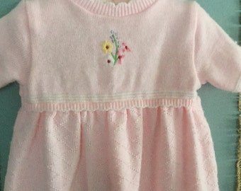Vintage Knit Baby Girl Pink Knit Outfit B.T. Kids Size 3 to 6 Months
