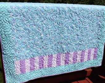 Baby Quilt- Unicorns- Turquoise and Lavendar- Rosette Minky- Handmade quilt