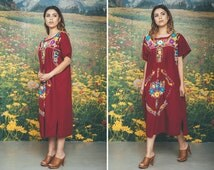 Vintage MEXICAN Dress Hand EMBROIDERED Summer Cotton Rust BOHO Festival Chic Dress