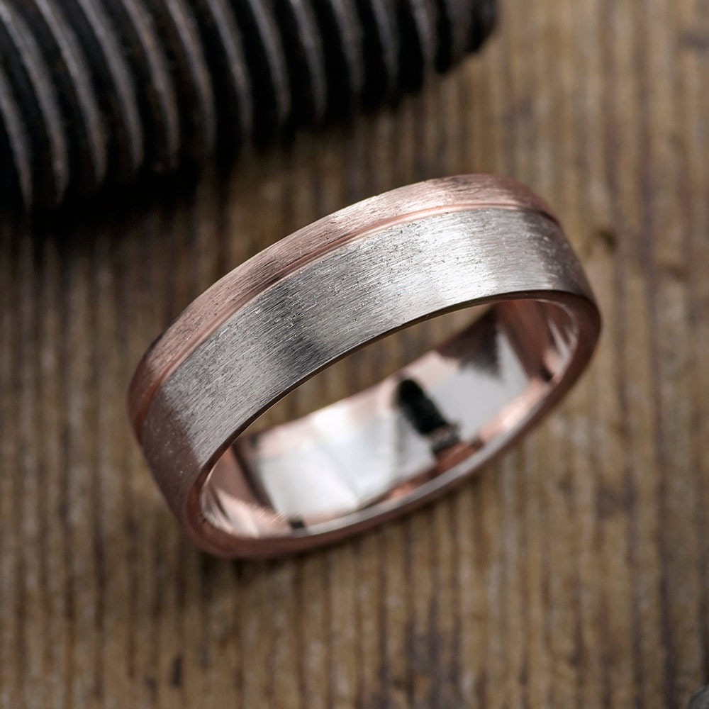 6mm mens wedding band 14k white gold 14k rose gold