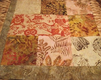 """14"""" x 14"""" Batiks Pillow COVER - 8 Chocoloate Mocha Brown Squares of Nature Surrounding Forest Owls"""