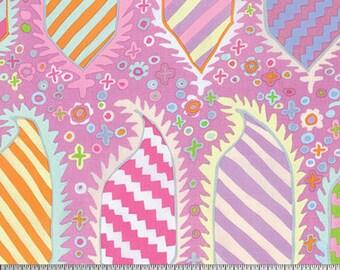 Kaffe Fassett for Rowan & Westminster Fibers - Striped Heraldic - Pink - 1/2 Yard Cotton Quilt Fabric 916