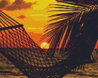 Cross Stitch Pattern Hammock at Sunset Scenic Design Instant Download PdF - Beach Paradise Tropical Vacation