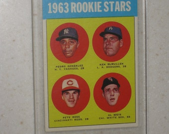 new just in 1963 topps pete rose rc #537 awesome vg card only 1 available in a screwdown case