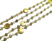 Labradorite GemStone Beaded Chain with matt finish round coins faceted Beads Cluster Bulk Chain supplies wholesale jewelry gemstone findings
