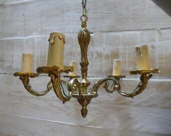 Chandelier, French Vintage Light, 5 Branch,  Circa 1940 - 1960