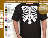 Skeleton Rib Cage T-shirt — Any color/Any size - Adult S, M, L, XL, 2XL, 3XL, 4XL, 5XL  Youth S, M, L, XL