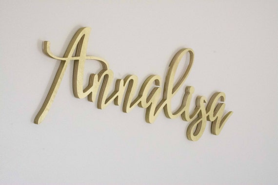 Calligraphy Name Sign, Above the Crib Baby Name, Wooden Letters for Nursery, Gold Name Art, Beautiful, Baby Girl Name Cut Out