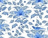 Bird Floral in White - Annabelle - Williamsburg - Windham Fabrics - 1 Yard