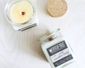 WILD MOUNTAIN HONEY Apothecary Cork Topped Jar Wood Wick Soy Candle 8.5oz Perfect Gift