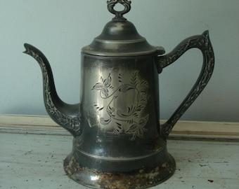Vintage Silver Plate Teapot/Decorative Teapot/Ornate Teapot
