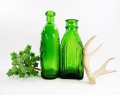 Wheaton Green Glass Medicine Bottles / Vintage Apothecary Bottles / Frank's Safe Kidney & Liver Cure / Chief Wahoo Electric Tonic / Vase Set