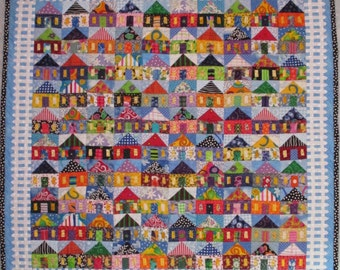 PDF Quilt Pattern -- Digital Pattern for 100 Houses wall quilt (pdf)