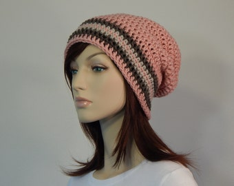 Light Pink, Taupe Brown, and Linen Slouch Hat, Taupe Linen Pink Striped Slouch Beanie, Womens Hat, Teen Slouchy, Winter, MarlowsGiftCottage