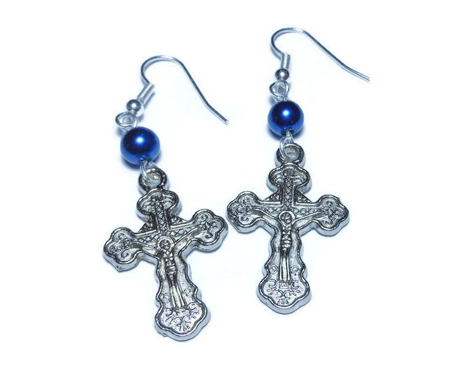 Orthodox Crucifix Earrings, handmade Russian Orthodox silver plated with blue Swarovski glass pearl, cross pierced dangle earrings.