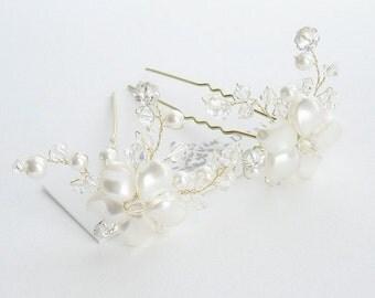 Set Of 5 Pearl Bridal Hairpins, Bridal Hairpins, Wedding Hair Accessories, Bridal Hair Pins, Wedding Hairpins