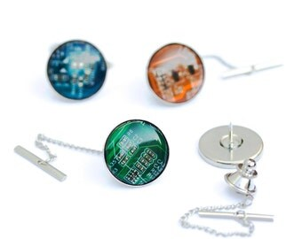 Tie tack - modern circuit board tie tack - fathers day gift - gift for him