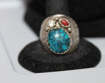 Native American Hand Made Sterling & Turquoise with Coral and Rhinestone Ring, sz 10