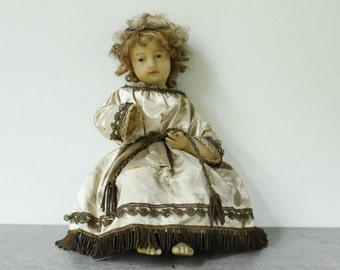 """French Antique Wax Doll, Infant Jesus....Height Seated 13""""....Religious Statue...Santos."""