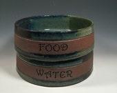 Large Dog dishes-  Monet Blue Green - FOOD WATER -  pet bowls - Pottery dog bowls - ceramics - pottery - stoneware - pets - feeding