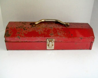 Vintage Red Tool Box Vermont American Industrial Rusty Home Decor Planter
