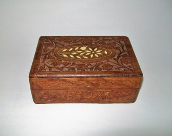 Vintage Sheesham Wood Box Hand Carved Bone Inlay India