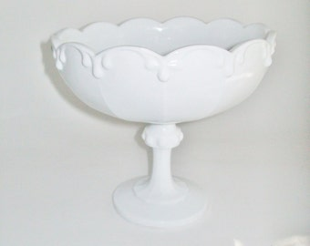 Vintage Milk Glass Compote Pedestal Dish Garland Edge Indiana Glass Co.