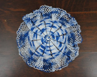 Ruffled Hand Crocheted Variegated Blue and White Doily