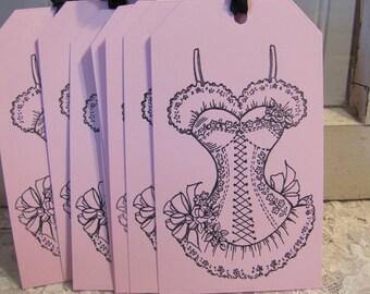 Corset Bachlorette Bridal Shower Tags set of 8 Pink Black Shower Favors