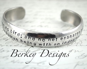 I am No Bird Charlotte Bronte, Jane Eyre Hand Stamped Bracelet- Personalized Bracelet