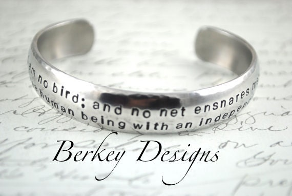 I am No Bird Charlotte Bronte, Jane Eyre Hand Stamped Bracelet- Personalized Bracelet