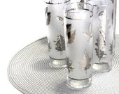 Libbey Silver Foliage Frosted Zombie Glasses Seven Tall Tom Collins Autumn Leaves Mid Century Bar Glassware