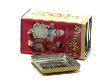 Droste's Cocoa 1 Pound Tin Dutch Boy and Girl Bright Yellow Red Embossed Removable Lid Collectible Recipes Advertising Display