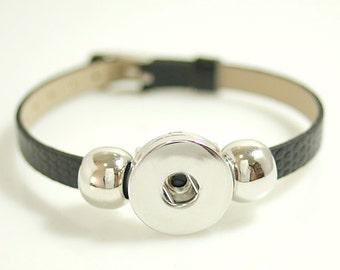 "1 Black Faux Leather Buckle Bracelet - 5-7"" FITS 18MM Candy Snap Charm Jewelry Silver kb0994 CJ0268"