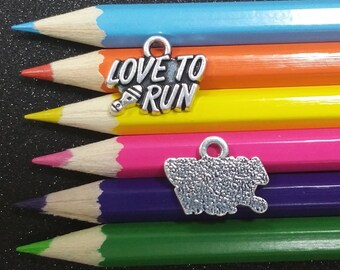 2 PCS - Love to Run Marathon Sports Silver Charm Pendant C1273