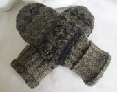 Men's large wool mittens navy and olive muted FairIsle weave fleece-lined RTS