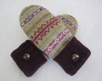 Women's lambswool Fair Isle mittens wine and olive fleece lined size medium warm RTS