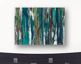 Oversized blue canvas print Extra LARGE Wall art dining room living decor Painting of trees colorful abstract landscape teal bedroom decor