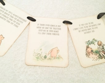 Winnie the Pooh Banner-Birthday Baby Shower Banner-Pooh Quotes