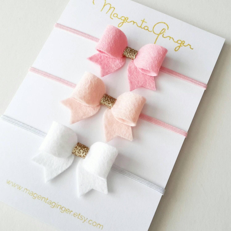 Newborn baby girl mini felt bow set felt and glitter fabric for Baby girl fabric