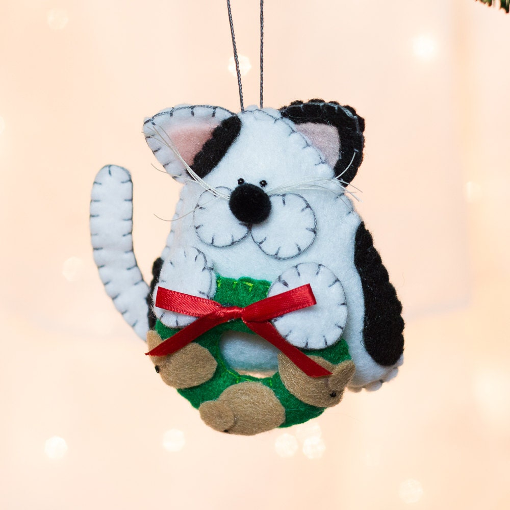 Christmas Tree Made Of Black Cats: Felt Cat Ornament White And Black Cat