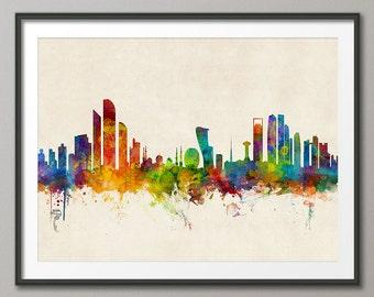 Abu Dhabi Skyline, Abu Dhabi UAE Cityscape Art Print (2351)