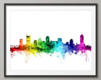 Nashville Skyline, Nashville Tennessee Cityscape Art Print (2473)