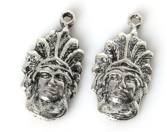 Indian Chief Charm Antique Silver - sc306