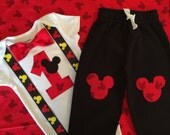 READY TO SHIP! Boys Mickey Mouse First Birthday Bodysuit Bowtie and Pants, Boy Cake Smash Outfit, Mickey Suspenders Baby Boy First Birthday
