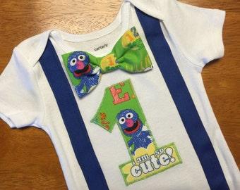 Sesame Street Birthday Shirt, Grover Shirt, Boy Sesame Street First Birthday Outfit, Sesame Street Cake Smash Bodysuit,
