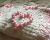White Crochet Baby Afghan with 18 Pink Hearts. Ready to ship