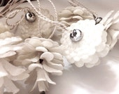 Vintage Christmas Lights, Italy, White Pinecones, Mica Dusted