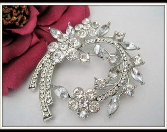 Clear Rhinestone -Brooch - Art Deco Style - 70's Brooch