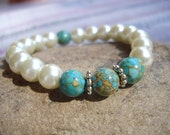 Womens Mosaic Turquoise and Glass Pearl Stretch Bracelet, Gemstone Jewelry, Pearl Jewelry, Summer Fashion, Wedding Bracelet